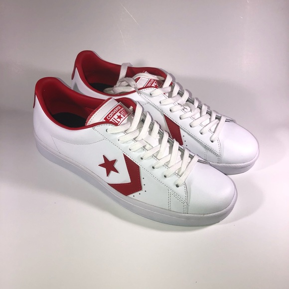 f3c56554a20d7 Converse Pro Leather 76 Low White Red 157423C
